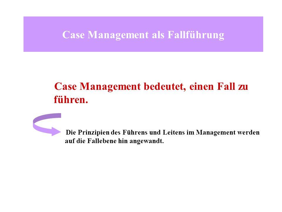 Case Management als Fallführung Case Management bedeutet, einen Fall zu führen. Die Prinzipien des Führens und Leitens im Management werden auf die Fa