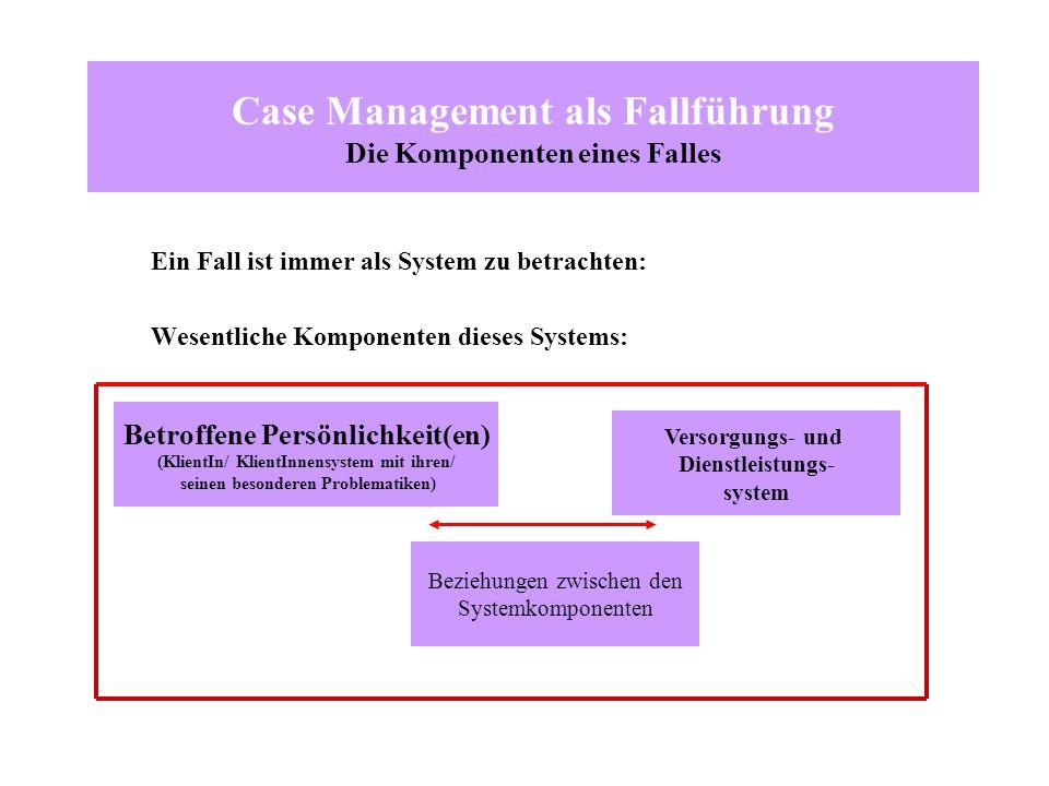 Case Management als Fallführung Die Komponenten eines Falles Ein Fall ist immer als System zu betrachten: Wesentliche Komponenten dieses Systems: Betr