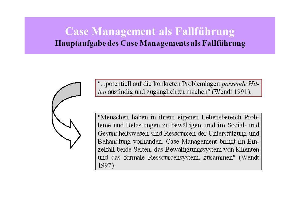 Case Management als Fallführung Hauptaufgabe des Case Managements als Fallführung