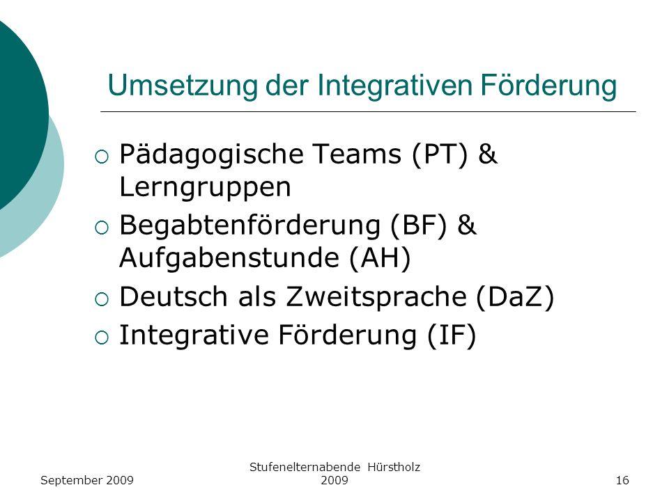Umsetzung der Integrativen Förderung Pädagogische Teams (PT) & Lerngruppen Begabtenförderung (BF) & Aufgabenstunde (AH) Deutsch als Zweitsprache (DaZ)