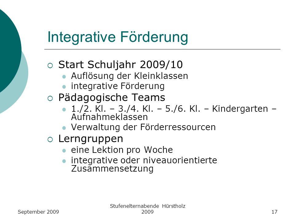 Integrative Förderung Start Schuljahr 2009/10 Auflösung der Kleinklassen integrative Förderung Pädagogische Teams 1./2. Kl. – 3./4. Kl. – 5./6. Kl. –