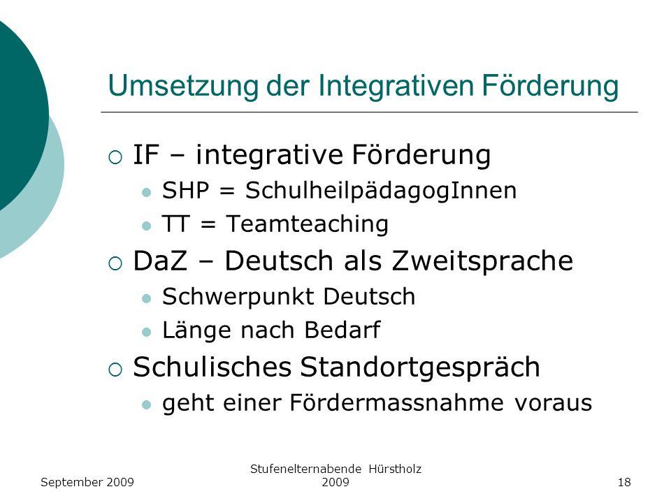 Umsetzung der Integrativen Förderung IF – integrative Förderung SHP = SchulheilpädagogInnen TT = Teamteaching DaZ – Deutsch als Zweitsprache Schwerpun