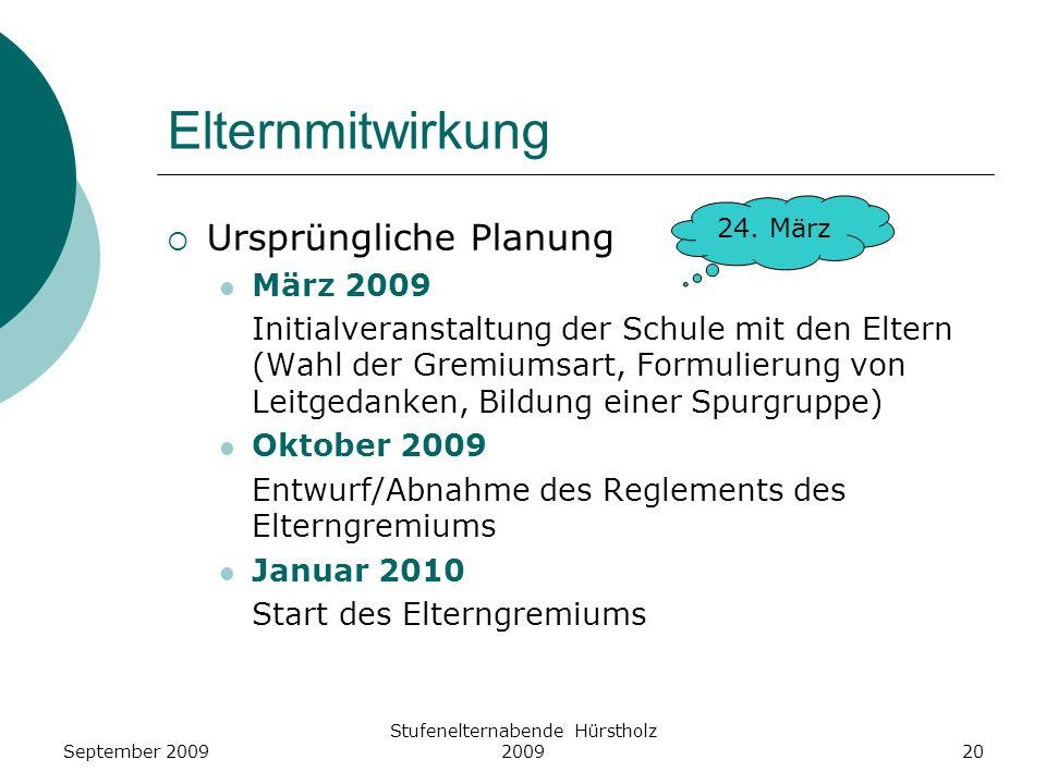 Elternmitwirkung Ursprüngliche Planung März 2009 Initialveranstaltung der Schule mit den Eltern (Wahl der Gremiumsart, Formulierung von Leitgedanken,