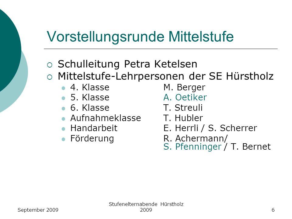 Vorstellungsrunde Mittelstufe Schulleitung Petra Ketelsen Mittelstufe-Lehrpersonen der SE Hürstholz 4. KlasseM. Berger 5. KlasseA. Oetiker 6. KlasseT.