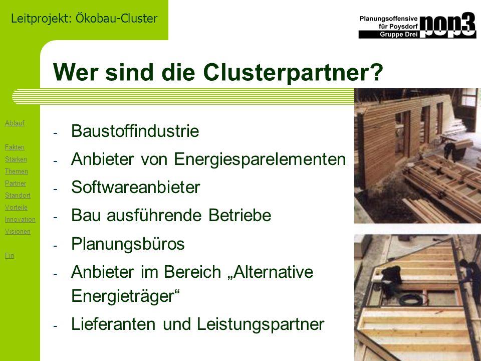 Ablauf Fakten Stärken Themen Partner Standort Vorteile Innovation Visionen Fin Leitprojekt: Ökobau-Cluster Wer sind die Clusterpartner.