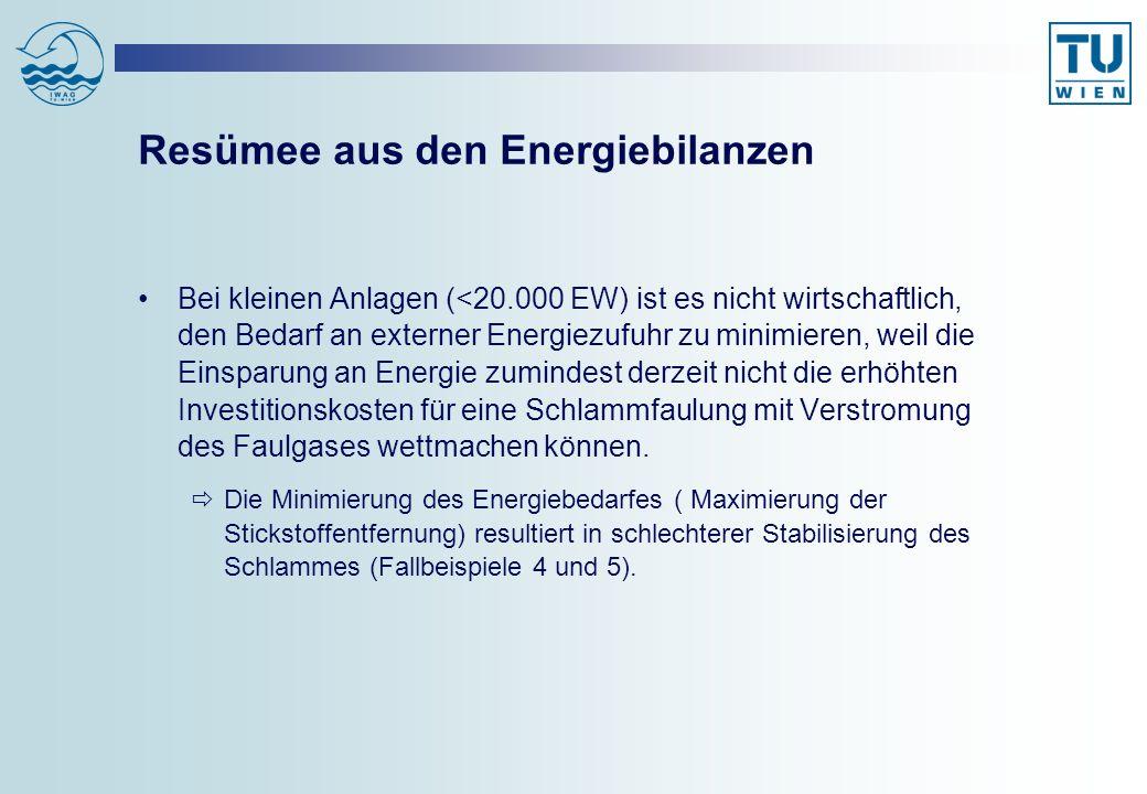 Resümee aus den Energiebilanzen Bei kleinen Anlagen (<20.000 EW) ist es nicht wirtschaftlich, den Bedarf an externer Energiezufuhr zu minimieren, weil