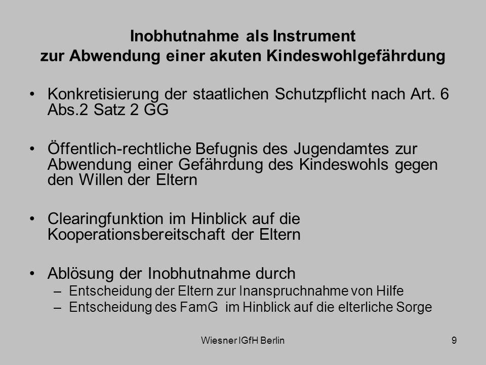Wiesner IGfH Berlin10 Wahrnehmung der Gesamtverantwortung (§§ 79,80 SGB VIII) Vorhaltung zielgruppenspezifischer Angebote Zugang zur Einrichtung rund um die Uhr Rufbereitschaft des Jugendamtes