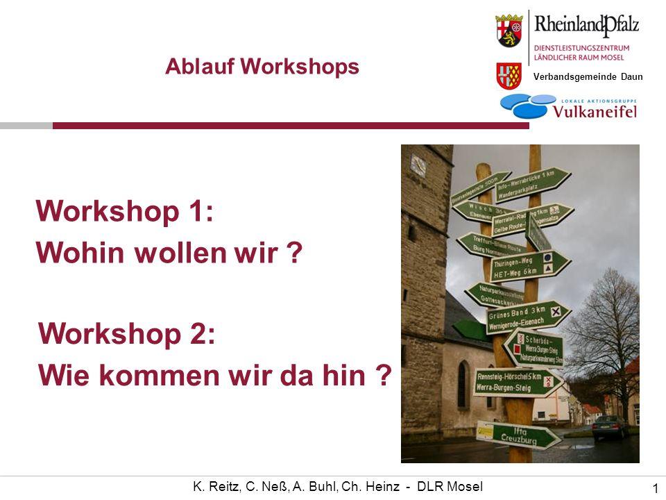 Verbandsgemeinde Daun 1 K. Reitz, C. Neß, A. Buhl, Ch. Heinz - DLR Mosel Workshop 1: Wohin wollen wir ? Ablauf Workshops Workshop 2: Wie kommen wir da