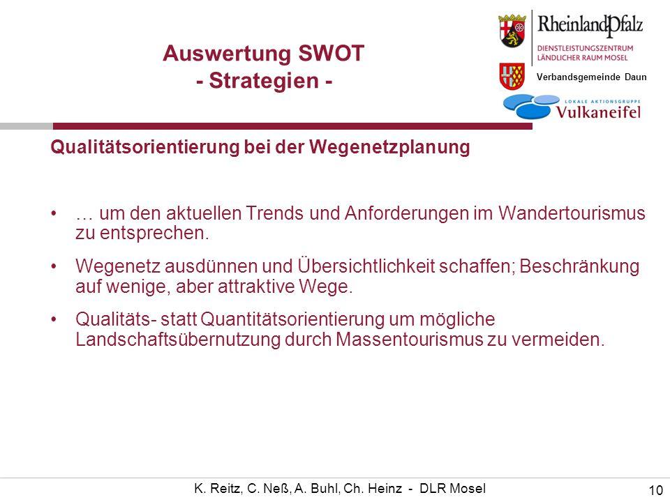 Verbandsgemeinde Daun 10 K. Reitz, C. Neß, A. Buhl, Ch. Heinz - DLR Mosel Auswertung SWOT - Strategien - Qualitätsorientierung bei der Wegenetzplanung