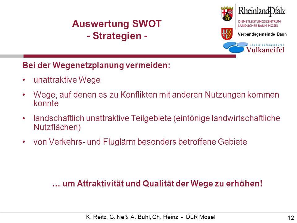 Verbandsgemeinde Daun 12 K. Reitz, C. Neß, A. Buhl, Ch. Heinz - DLR Mosel Auswertung SWOT - Strategien - Bei der Wegenetzplanung vermeiden: unattrakti