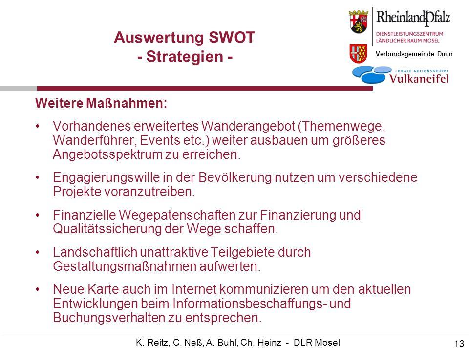 Verbandsgemeinde Daun 13 K. Reitz, C. Neß, A. Buhl, Ch. Heinz - DLR Mosel Auswertung SWOT - Strategien - Weitere Maßnahmen: Vorhandenes erweitertes Wa