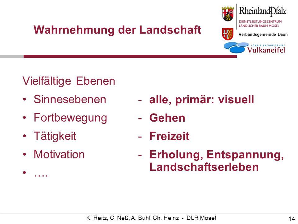 Verbandsgemeinde Daun 14 K. Reitz, C. Neß, A. Buhl, Ch. Heinz - DLR Mosel Wahrnehmung der Landschaft Vielfältige Ebenen Sinnesebenen Fortbewegung Täti
