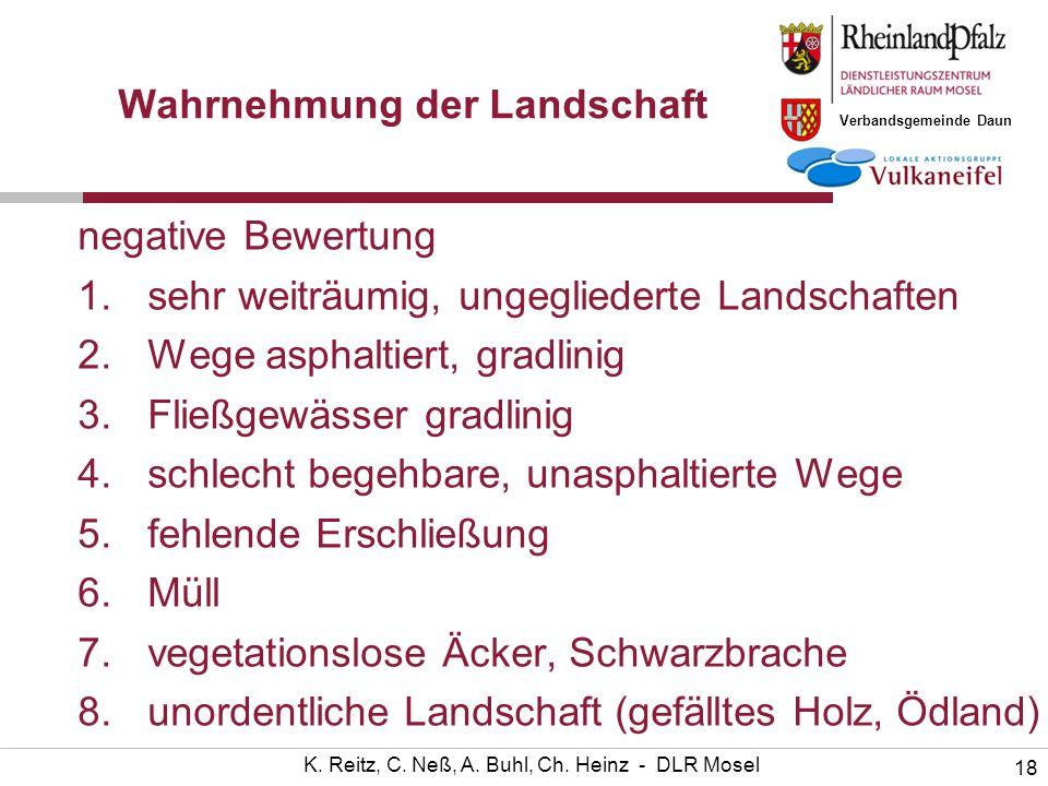 Verbandsgemeinde Daun 18 K. Reitz, C. Neß, A. Buhl, Ch. Heinz - DLR Mosel Wahrnehmung der Landschaft negative Bewertung 1.sehr weiträumig, ungeglieder