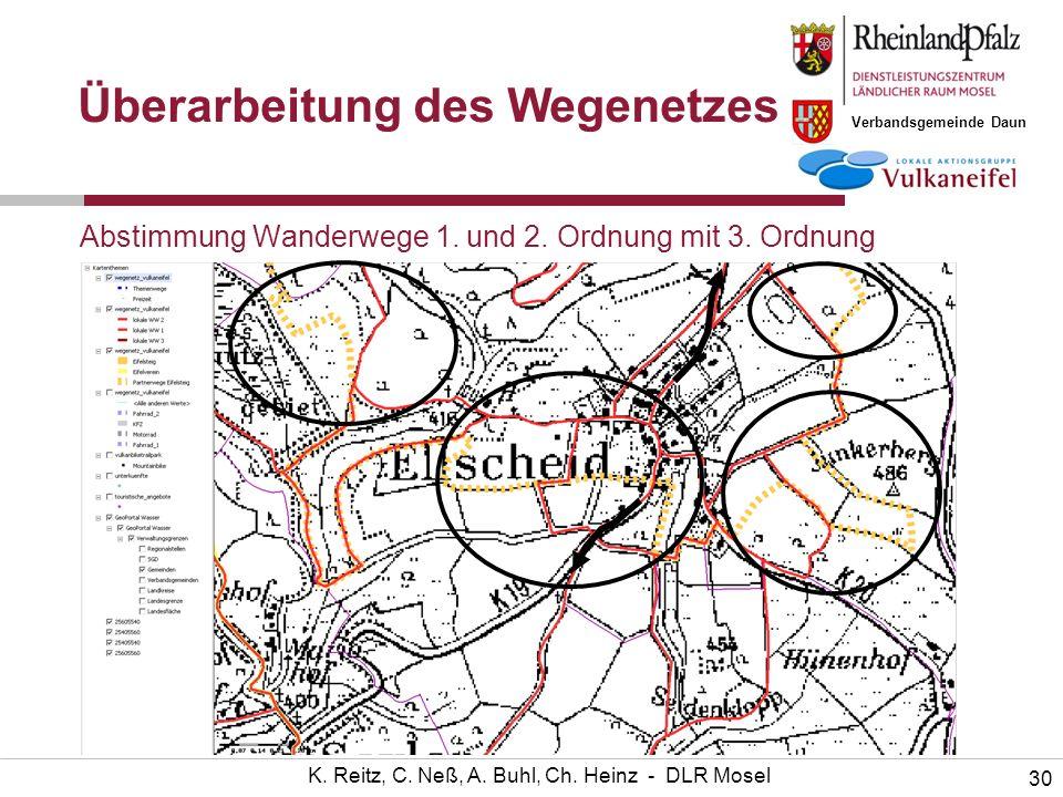 Verbandsgemeinde Daun 30 K. Reitz, C. Neß, A. Buhl, Ch. Heinz - DLR Mosel Abstimmung Wanderwege 1. und 2. Ordnung mit 3. Ordnung Überarbeitung des Weg