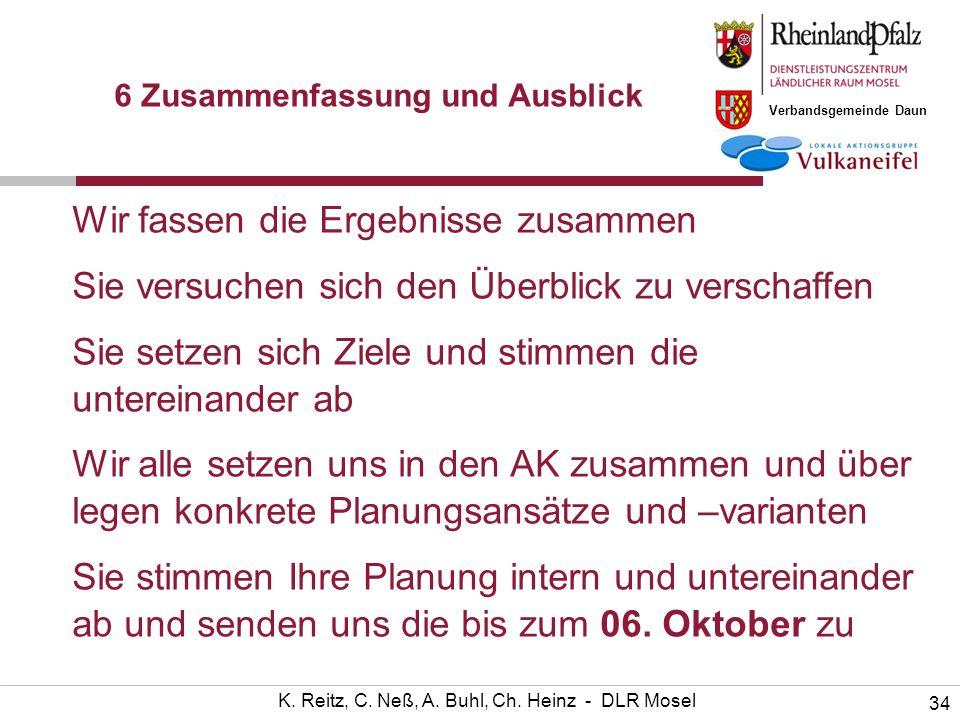 Verbandsgemeinde Daun 34 K. Reitz, C. Neß, A. Buhl, Ch. Heinz - DLR Mosel 6 Zusammenfassung und Ausblick Wir fassen die Ergebnisse zusammen Sie versuc