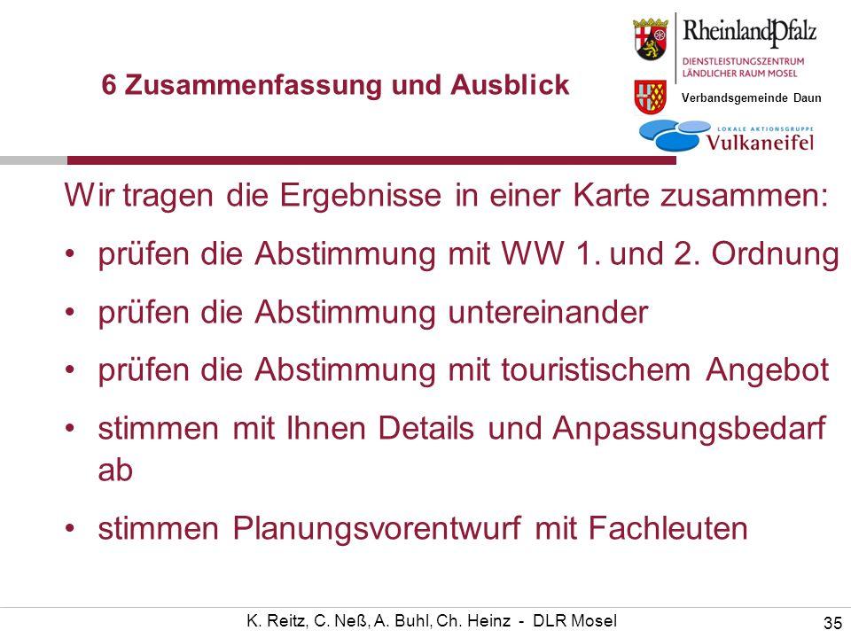 Verbandsgemeinde Daun 35 K. Reitz, C. Neß, A. Buhl, Ch. Heinz - DLR Mosel 6 Zusammenfassung und Ausblick Wir tragen die Ergebnisse in einer Karte zusa