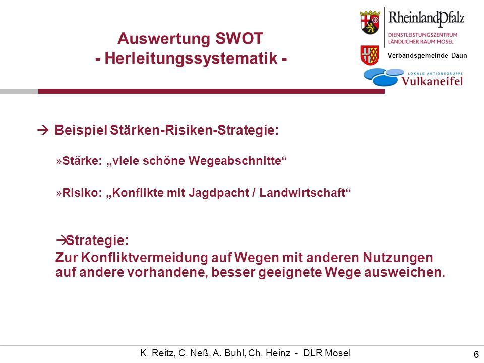 Verbandsgemeinde Daun 6 K. Reitz, C. Neß, A. Buhl, Ch. Heinz - DLR Mosel Auswertung SWOT - Herleitungssystematik - Beispiel Stärken-Risiken-Strategie: