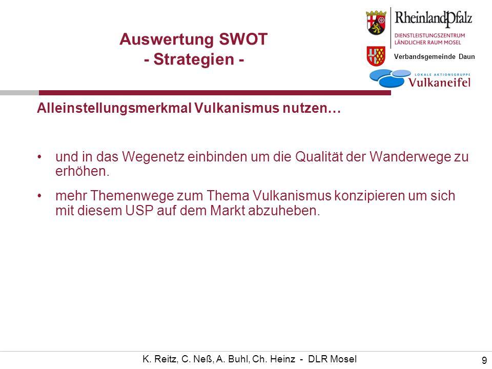 Verbandsgemeinde Daun 9 K. Reitz, C. Neß, A. Buhl, Ch. Heinz - DLR Mosel Auswertung SWOT - Strategien - Alleinstellungsmerkmal Vulkanismus nutzen… und