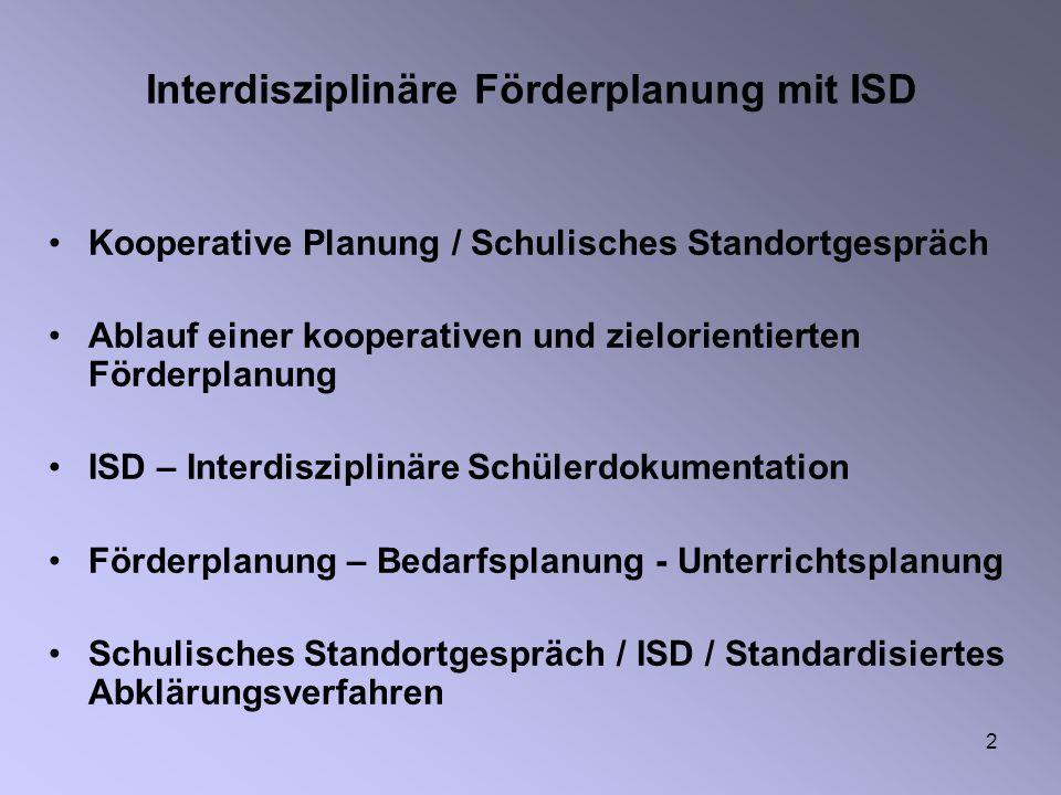 2 Interdisziplinäre Förderplanung mit ISD Kooperative Planung / Schulisches Standortgespräch Ablauf einer kooperativen und zielorientierten Förderplan
