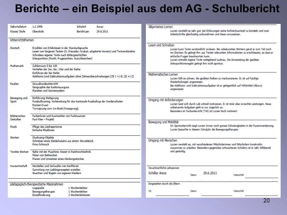 20 Berichte – ein Beispiel aus dem AG - Schulbericht
