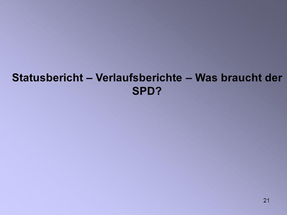 21 Statusbericht – Verlaufsberichte – Was braucht der SPD?
