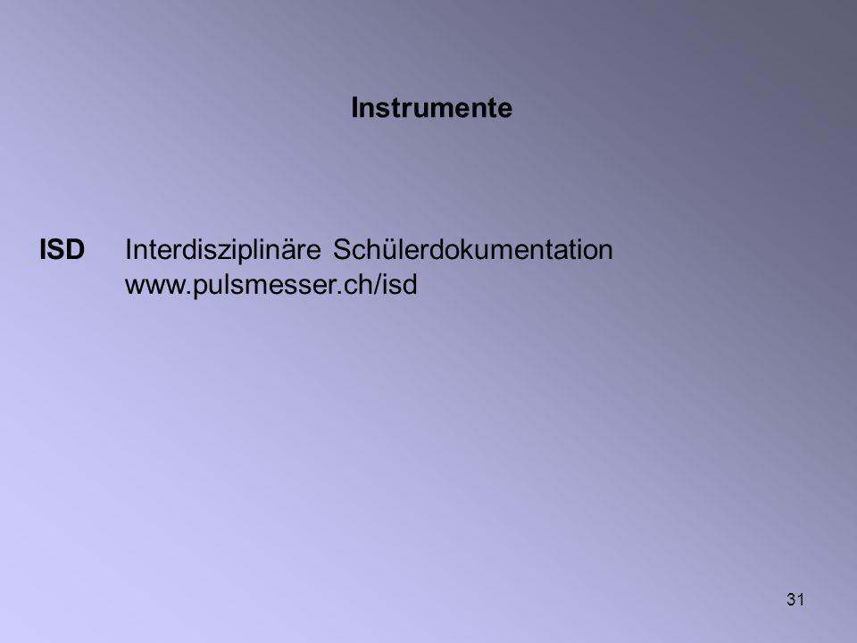 31 ISD Interdisziplinäre Schülerdokumentation www.pulsmesser.ch/isd Instrumente