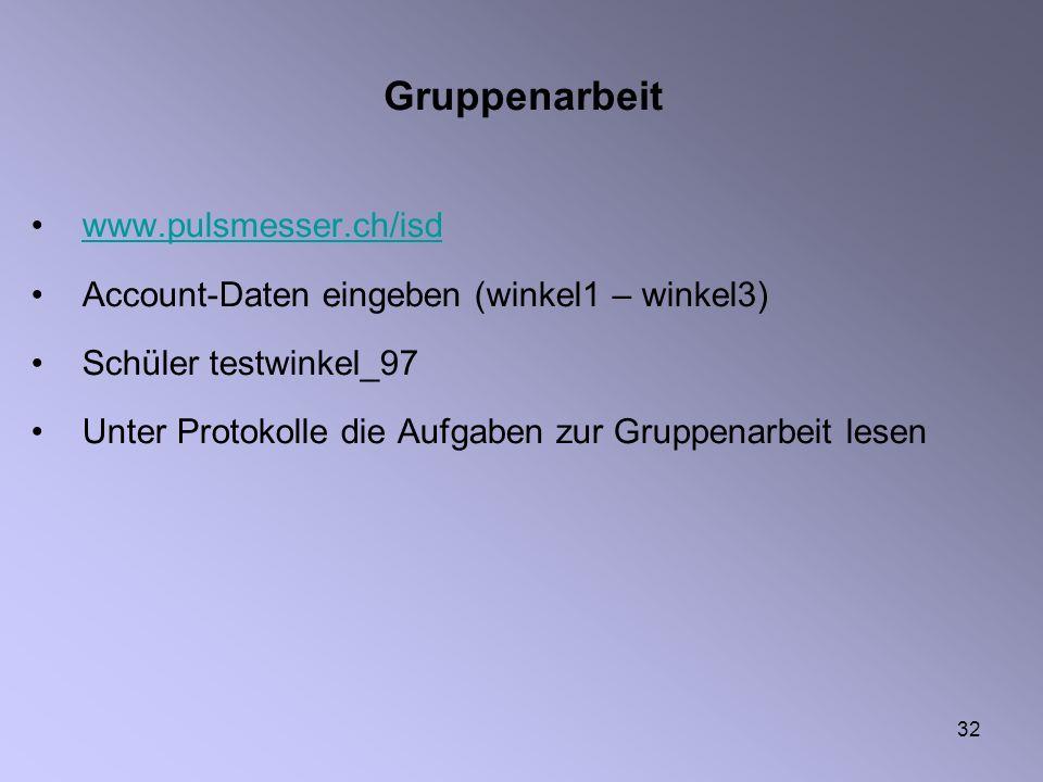 32 Gruppenarbeit www.pulsmesser.ch/isd Account-Daten eingeben (winkel1 – winkel3) Schüler testwinkel_97 Unter Protokolle die Aufgaben zur Gruppenarbei