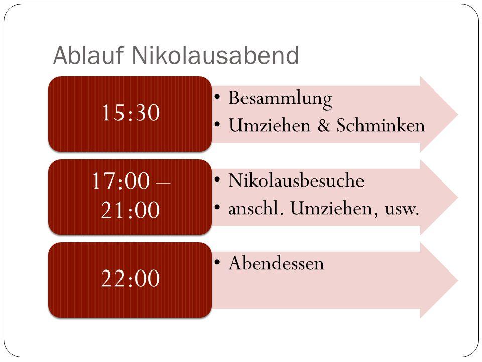 Ablauf Nikolausabend Besammlung Umziehen & Schminken 15:30 Nikolausbesuche anschl. Umziehen, usw. 17:00 – 21:00 Abendessen 22:00