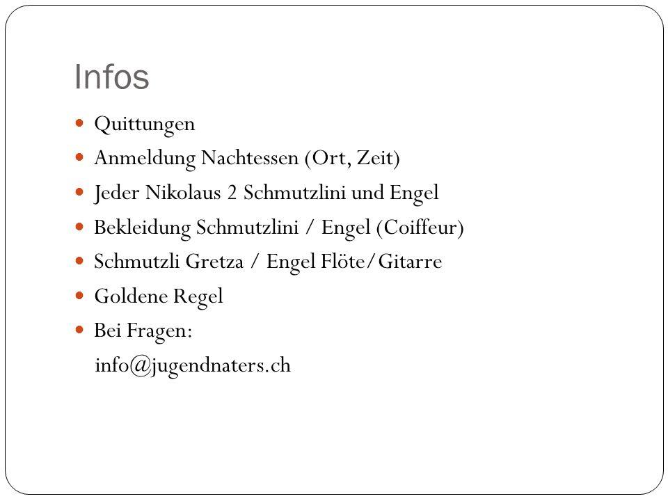 Infos Quittungen Anmeldung Nachtessen (Ort, Zeit) Jeder Nikolaus 2 Schmutzlini und Engel Bekleidung Schmutzlini / Engel (Coiffeur) Schmutzli Gretza /