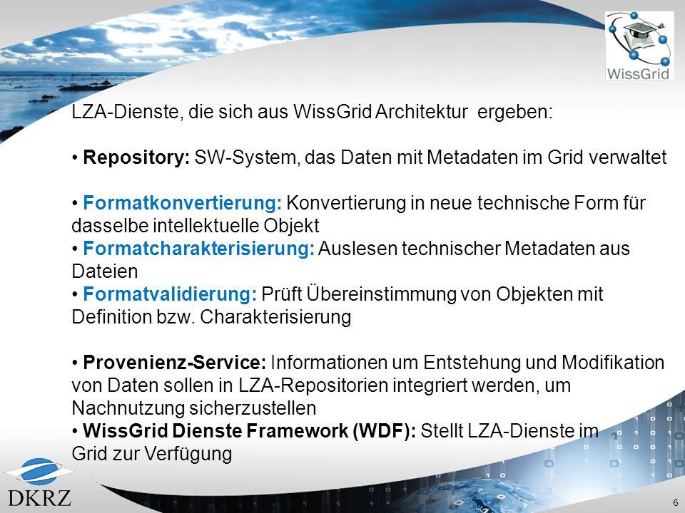 6 LZA-Dienste, die sich aus WissGrid Architektur ergeben: Repository: SW-System, das Daten mit Metadaten im Grid verwaltet Formatkonvertierung: Konvertierung in neue technische Form für dasselbe intellektuelle Objekt Formatcharakterisierung: Auslesen technischer Metadaten aus Dateien Formatvalidierung: Prüft Übereinstimmung von Objekten mit Definition bzw.