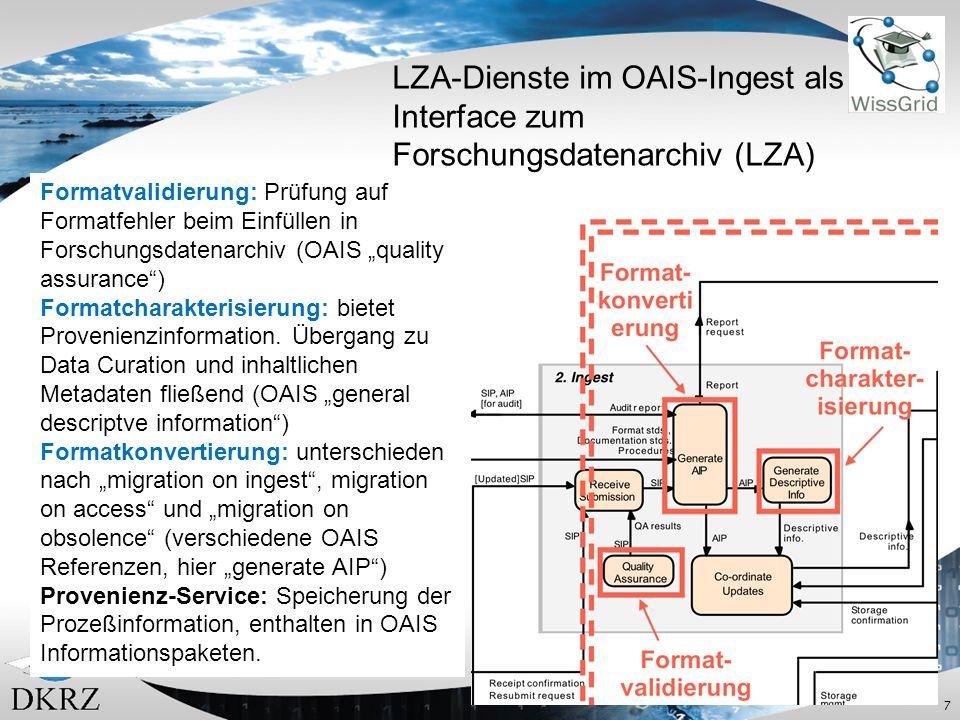 7 LZA-Dienste im OAIS-Ingest als Interface zum Forschungsdatenarchiv (LZA) Formatvalidierung: Prüfung auf Formatfehler beim Einfüllen in Forschungsdatenarchiv (OAIS quality assurance) Formatcharakterisierung: bietet Provenienzinformation.