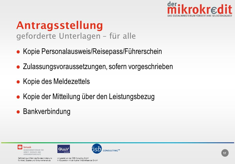 Gefördert aus Mitteln des BundesministeriumsUmgesetzt von der ÖSB Consulting GmbH für Arbeit, Soziales und Konsumentenschutzin Kooperation mit der Aus
