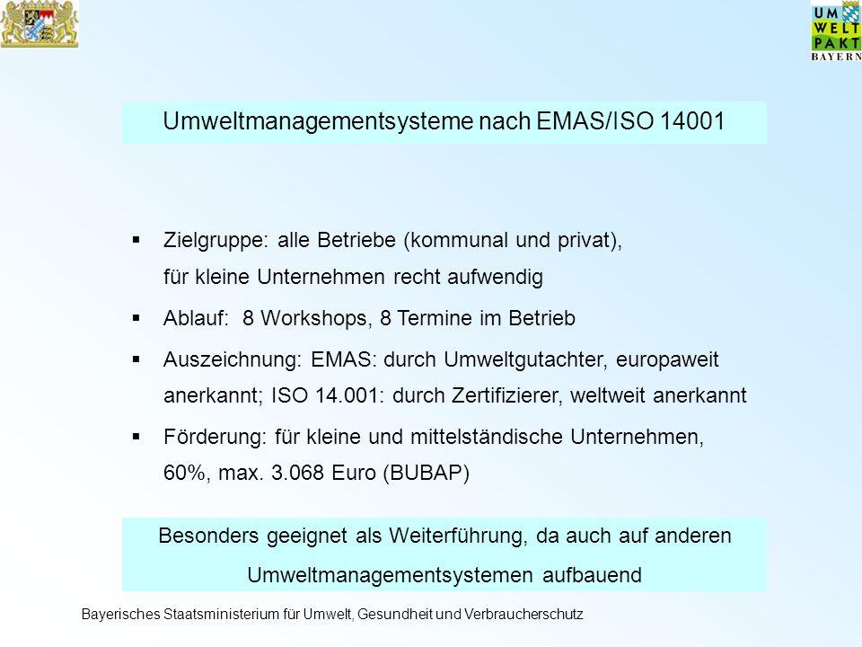 Umweltmanagementsysteme nach EMAS/ISO 14001 Zielgruppe: alle Betriebe (kommunal und privat), für kleine Unternehmen recht aufwendig Ablauf: 8 Workshops, 8 Termine im Betrieb Auszeichnung: EMAS: durch Umweltgutachter, europaweit anerkannt; ISO 14.001: durch Zertifizierer, weltweit anerkannt Förderung: für kleine und mittelständische Unternehmen, 60%, max.
