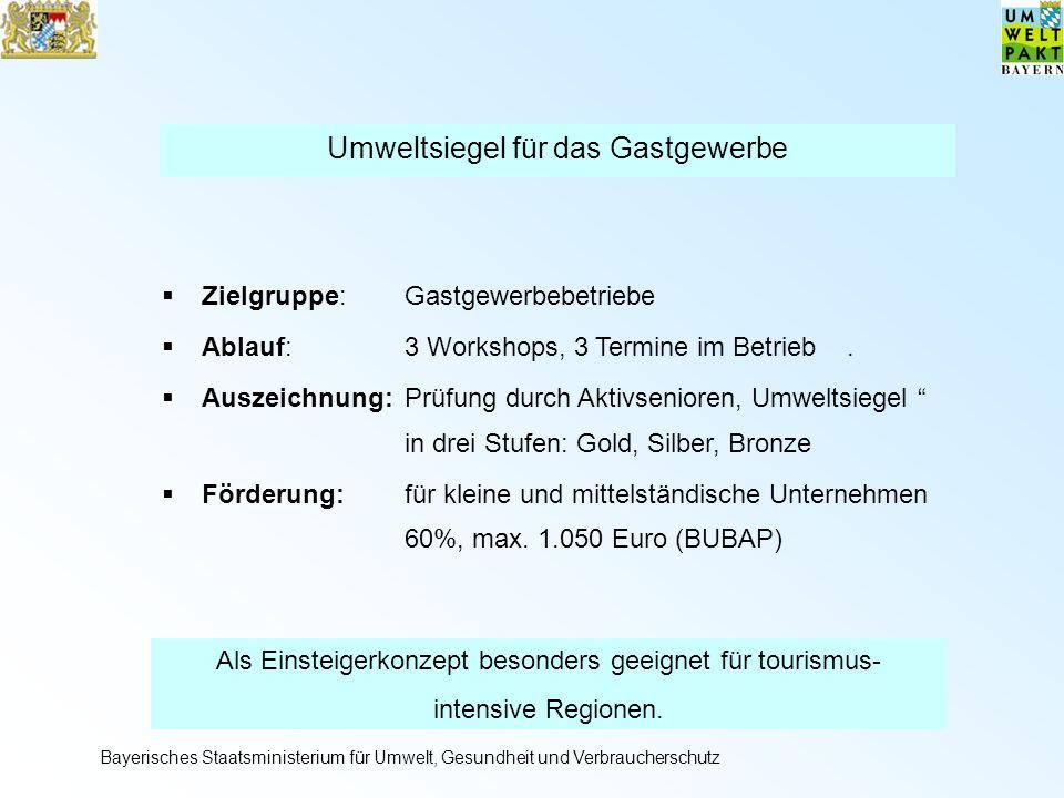 Umweltsiegel für das Gastgewerbe Zielgruppe:Gastgewerbebetriebe Ablauf: 3 Workshops, 3 Termine im Betrieb.