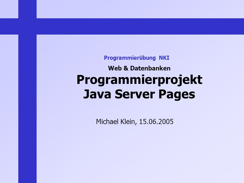 Web & Datenbanken Programmierprojekt Java Server Pages Michael Klein, 15.06.2005 Programmierübung NKI