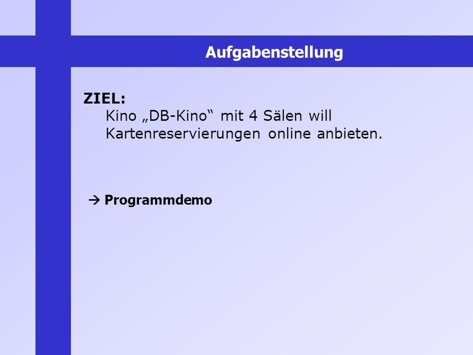 ZIEL: Kino DB-Kino mit 4 Sälen will Kartenreservierungen online anbieten. Programmdemo