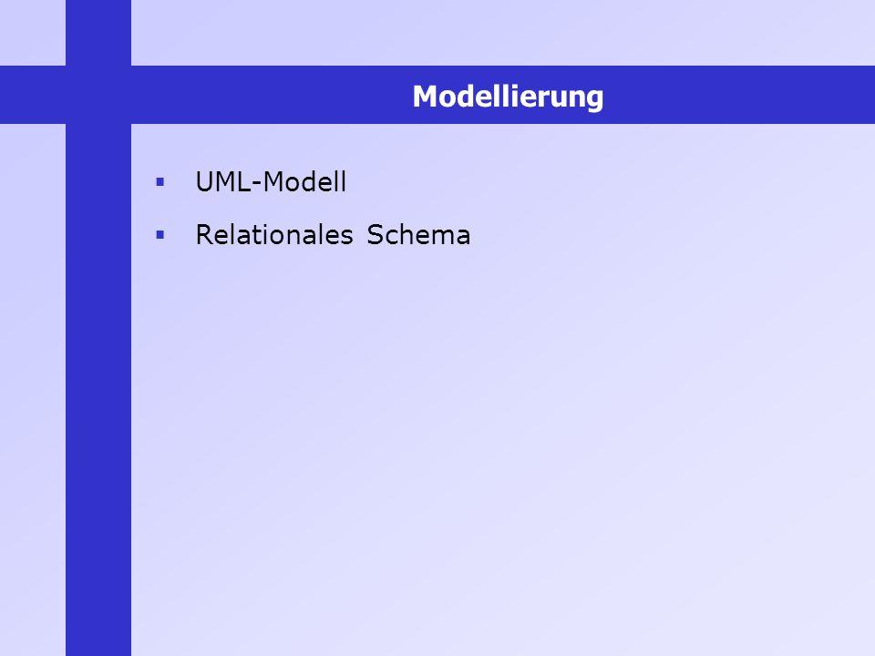 Modellierung UML-Modell Relationales Schema