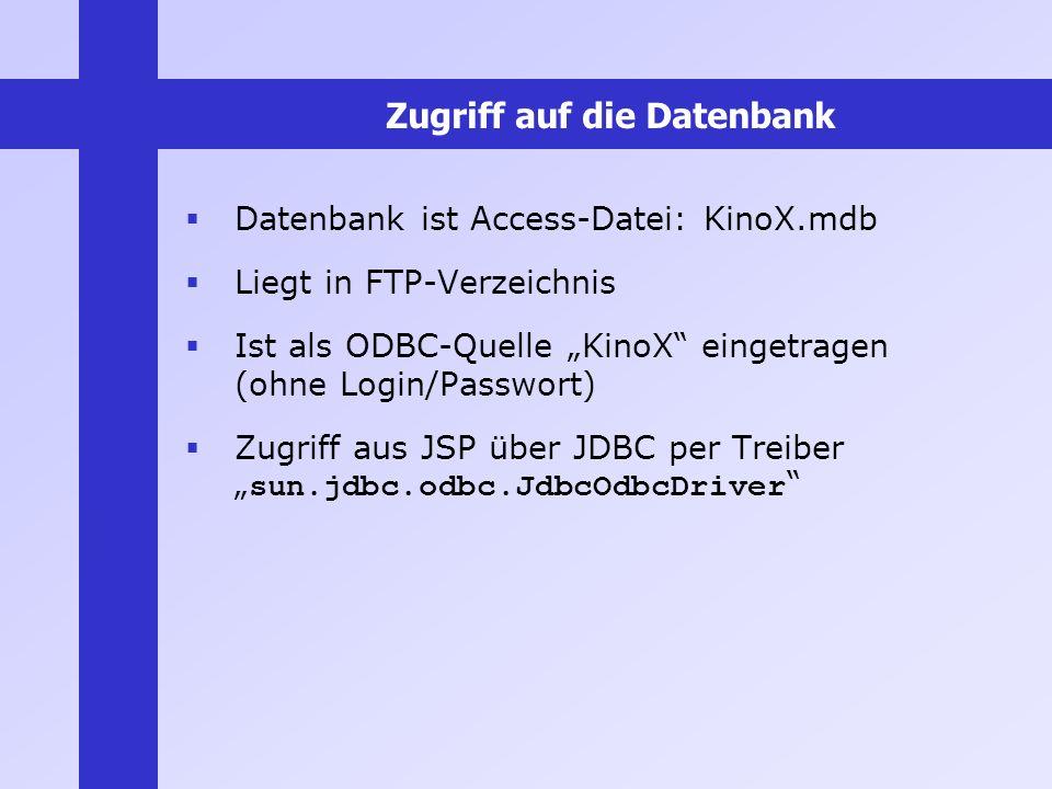 Zugriff auf die Datenbank Datenbank ist Access-Datei: KinoX.mdb Liegt in FTP-Verzeichnis Ist als ODBC-Quelle KinoX eingetragen (ohne Login/Passwort) Z