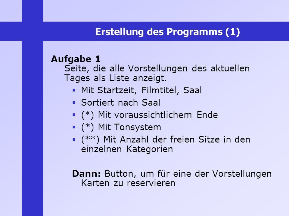 Erstellung des Programms (1) Aufgabe 1 Seite, die alle Vorstellungen des aktuellen Tages als Liste anzeigt. Mit Startzeit, Filmtitel, Saal Sortiert na