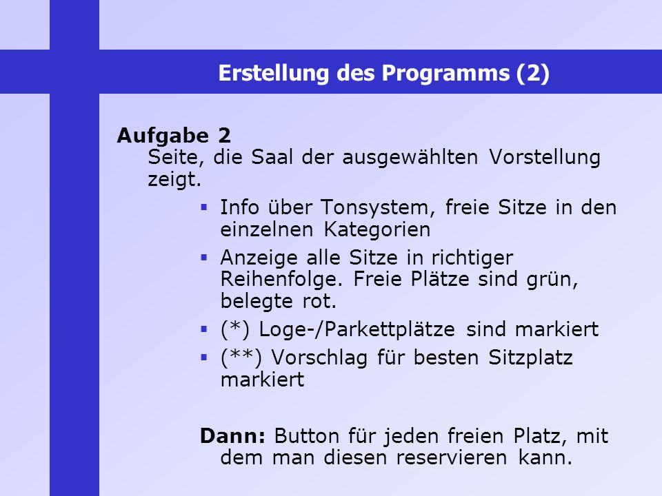 Erstellung des Programms (2) Aufgabe 2 Seite, die Saal der ausgewählten Vorstellung zeigt. Info über Tonsystem, freie Sitze in den einzelnen Kategorie