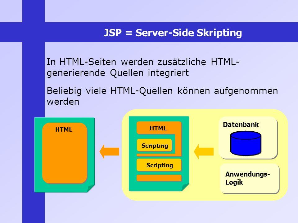 JSP = Server-Side Skripting In HTML-Seiten werden zusätzliche HTML- generierende Quellen integriert Beliebig viele HTML-Quellen können aufgenommen wer