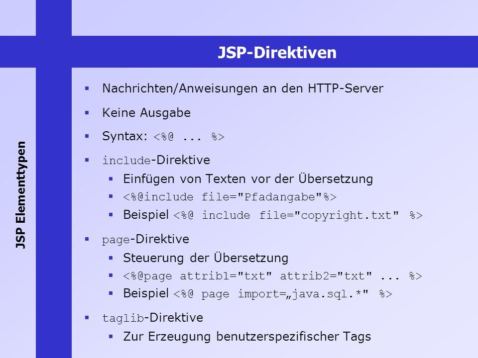 JSP-Direktiven Nachrichten/Anweisungen an den HTTP-Server Keine Ausgabe Syntax: include -Direktive Einfügen von Texten vor der Übersetzung Beispiel pa