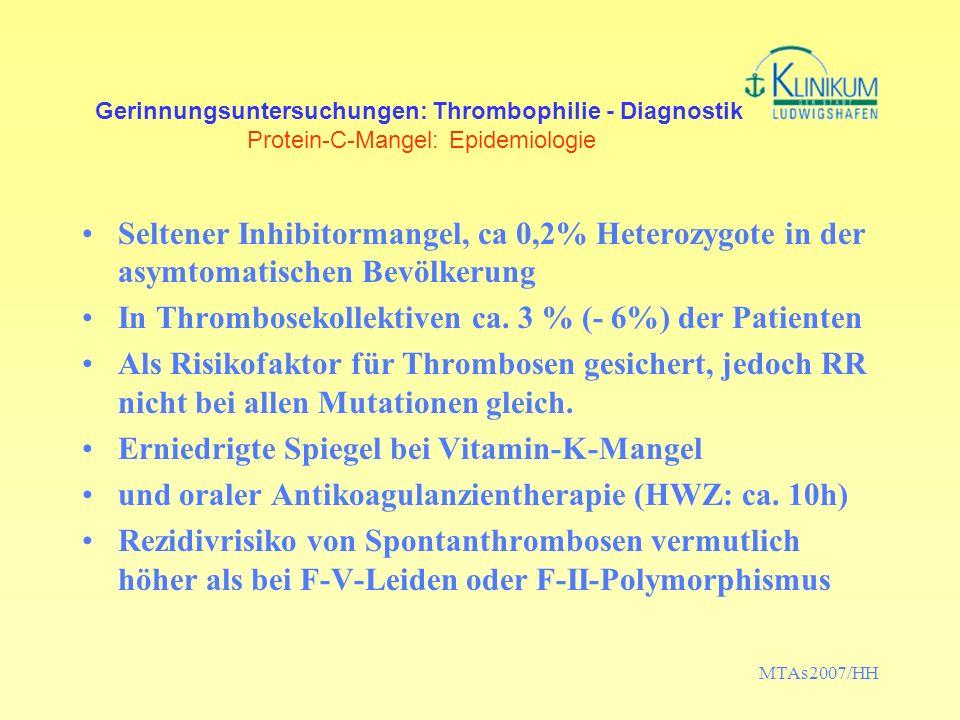 MTAs2007/HH Gerinnungsuntersuchungen: Thrombophilie - Diagnostik Protein-C-Mangel: Epidemiologie Seltener Inhibitormangel, ca 0,2% Heterozygote in der