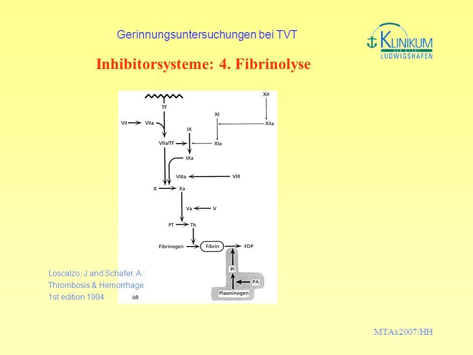 MTAs2007/HH Gerinnungsuntersuchungen bei TVT Inhibitorsysteme: 4. Fibrinolyse Loscalzo, J and Schafer, A.: Thrombosis & Hemorrhage 1st edition 1994