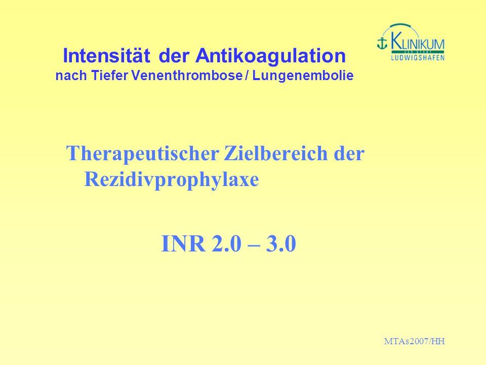 MTAs2007/HH Intensität der Antikoagulation nach Tiefer Venenthrombose / Lungenembolie Therapeutischer Zielbereich der Rezidivprophylaxe INR 2.0 – 3.0