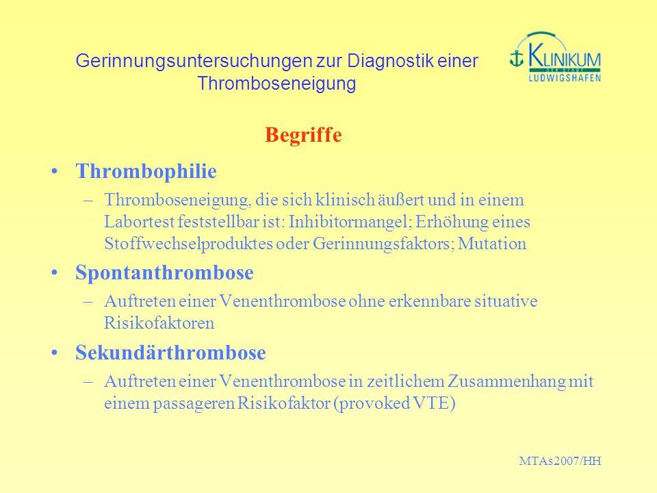 MTAs2007/HH Gerinnungsuntersuchungen zur Diagnostik einer Thromboseneigung Thrombophilie –Thromboseneigung, die sich klinisch äußert und in einem Labo
