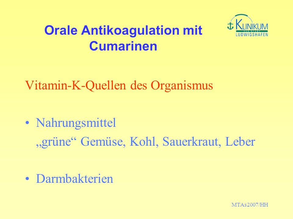MTAs2007/HH Orale Antikoagulation mit Cumarinen Vitamin-K-Quellen des Organismus Nahrungsmittel grüne Gemüse, Kohl, Sauerkraut, Leber Darmbakterien