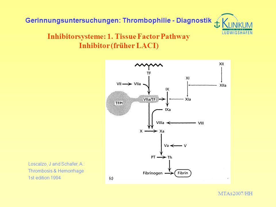 MTAs2007/HH Gerinnungsuntersuchungen: Thrombophilie - Diagnostik Inhibitorsysteme: 1. Tissue Factor Pathway Inhibitor (früher LACI) Loscalzo, J and Sc