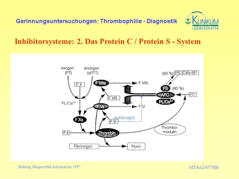 MTAs2007/HH Gerinnungsuntersuchungen: Thrombophilie - Diagnostik Laboruntersuchungen Teste zur Abklärung einer Resistenz gegen aktiviertes Protein C (=APC-Resistenz) –Gerinnungstest der 2.