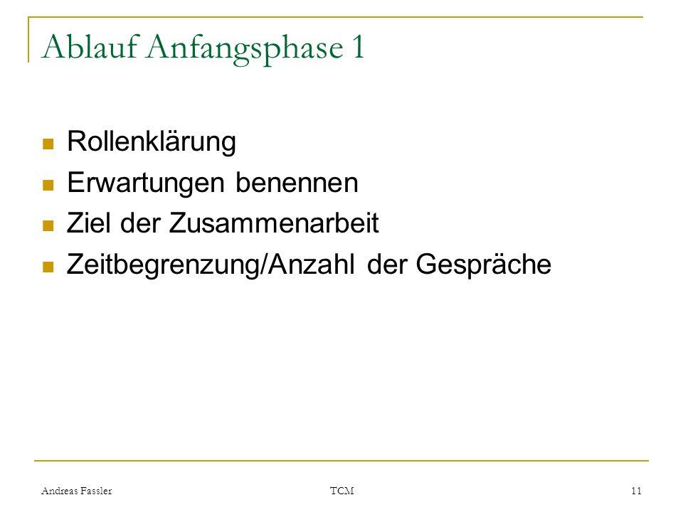 Andreas Fassler TCM 11 Ablauf Anfangsphase 1 Rollenklärung Erwartungen benennen Ziel der Zusammenarbeit Zeitbegrenzung/Anzahl der Gespräche